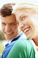 Couple laughing and smiling