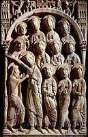 The doubting of St Thomas, detail from a pillar of St Dominic's monastery, Silos. Spain, 11th_12th century