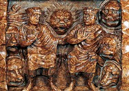 Saints Abdon and Sennen being thrown among the beasts, detail of relief decoration from Ark of Abdon and Sennen, high altar, Cathedral of Santa Maria ...