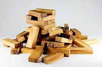 Wooden block tower game