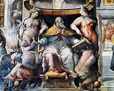 Allegory of Pope Paul III Farnese between Peace and Fertility, detail from History of the Pontificate of Paul III Farnese, 1553-1563, fresco by cecchi...