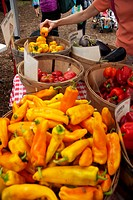 Selection of Peppers at a Farmer´s Market