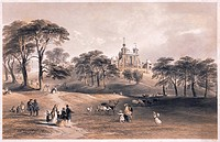 Greenwich Observatory. 19th_century chromolithograph of people and deer in Greenwich Park, London, England, with Flamsteed House, the main building of...