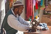 Market, Harar, Ethiopia, UNESCO, world cultural heritage, Africa, man, sew, work, job,