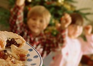 Cheerful Kids with Mince Pie at Christmas