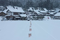 Snow lantern festival with traditional folk houses covered with snow, Miyama_cho, Kyoto Prefecture, Japan