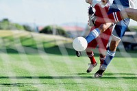 Soccer players from opposing teams compete for the ball during a game