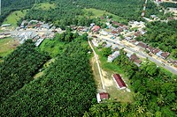 Palm oil factory. Aerial view over oil palm Elaeis guineensis plants and a palm oil processing facility in Sumatra, Indonesia. The fruit of the oil pa...