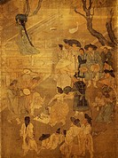Dancer in the street, detail on screen with eight panels depicting moments of everyday life signed by Kim Hong-do (1745-1814), ink and colours on silk...