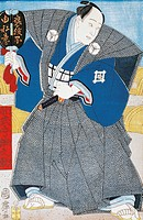 Japanese actor in traditional kimono with fan, by Utagawa Toyokuni, woodcut, 1769_1825, Japanese Civilization