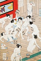 Women at the public baths, 1868, by Hiroka-Ya-Kosuke (1833-1904), woodcut, Japan. Japanese Civilisation, 19th century.  Paris, Bibliothèque Des Arts D...