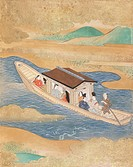 Lovers' boat trip, painter from the Tosa school, from a traditional literature novel, Japan. Japanese Civilisation, 19th century.  Paris, Bibliothèque...