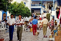 Tunisia, Sidi Bou Said  Street Scene, in front of the Cafe des Nattes