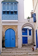 Tunisia, Sidi Bou Said  Door to Private Home, and Archway Entrance to Side Street