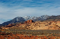 Desert, red rocks and snowy Henry Mountains, Utah