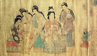 Domestic scene, by Wei-ch'ih I-seng, painted on silk, China. Chinese Civilisation, Tang Dynasty, 7th century.  Private Collection