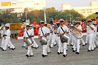 Indian Navy musical band perform beating retreat at Gateway of India in Bombay now Mumbai, Maharashtra, India