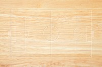 Soccer field layout on wood background
