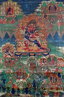 Haragriva, terrifying deities of Mahayana Buddhism, painting on silk, Tibet. Tibetan Civilisation, 18th century.  Rome, Museo Nazionale D'Arte Orienta...