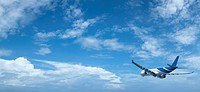 Jet in a blue cloudy sky. High resolution, no interpolation used