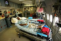 Interior of the world´s only airborne ophthalmic surgical and training facility ; The ORBIS Flying Eye Hospital´s plane recently landed at the Chhatra...