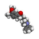 Donepezil Alzheimer´s drug, molecular model. This drug acts to inhibit the enzyme acetylcholinesterase. Atoms are represented as spheres and are colou...