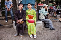 Asakusa Senso-ji Temple  couple dressed in traditional kimono during Sanja Matsuri Tokyo city, Japan, Asia