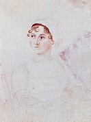 Portrait of Jane Austen (Steventon 1775 - Winchester 1817), British writer from the pre-Romantic period, by Cassandra Austen (1773-1845), ca 1810, wat...