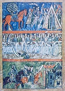 Miniature depicting three scenes of a knight's life from Perceval or the Story of the Grail by Chretien de Troyes, manuscript, 1135-1190, France 12th ...