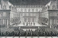 The ballet of the Alceste by Giovanni Battista Lulli (1632-1687) performed in the court of the Marble Palace of Versailles on July 4, 1674, to celebra...