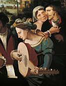 Lute Player, detail from The Prodigal Son with courtesans, by an artist from the Franco-Flemish school, 89x130 cm. 16th century.  Paris, Hôtel Carnava...