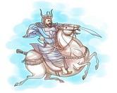 Samurai warrior with sword riding horse