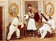 Characters of a Neapolitan comedy, illustration of 19th century.  Naples, Museo Nazionale Di San Martino (Art Museum)
