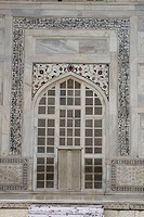 Taj mahal curving window on marble , Agra , Uttar Pradesh , India