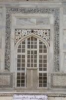 Taj mahal curving window on marble , Agra , Uttar Pradesh , India