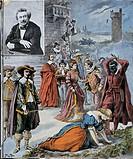 Alexandre Dumas (1802-1870) most famous novels. Engraving, 1902.  Paris, Hôtel Carnavalet (Art Museum)