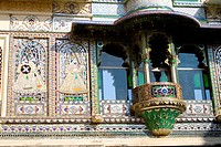 Mural of Balcony of city palace , Udaipur , Rajasthan , India