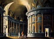 Domestic temple, scenography by Pasquale Canna for Berenice in Rome, by Pietro Raimondi 1786_1853, staged at San Carlo Theatre in Naples in 1824