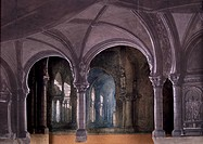 Cloister of San Giusto convent, first scene of the second act of Don Carlos by Giuseppe Verdi (1813-1901), set design by Charles Cambon for the premie...