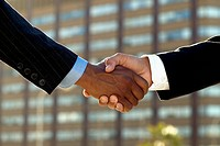 Business handshake, close up