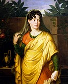 Portrait of Therese Hudelist (19th century), theatre actress. Painting by Josef Abel.  Vienna, Historisches Museum Der Stadt Wien (History Museum)