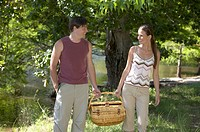 Young Couple Carrying a Picnic Basket in Woods