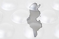 Outline map of tunisia with pills in the background for health a
