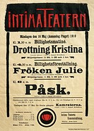 Poster for the Intimate Theatre in Stockholm, May 16, 1919 with works by Johan August Strindberg (1849-1912).  Stockholm, Strindbergsmuseet (Strindber...