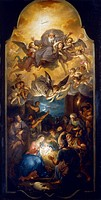 Adoration of the shepherds with the Father God in a glory of angels, 1751, by Anton Raphael Mengs (1728-1779), oil on canvas, 142x73 cm. Church of St ...