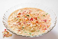 Grains flaked rice poha pawa mix in milk