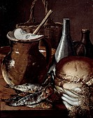 Still life showing fishes, bread and onions, by Luis Melendez (1716-1780).  Madrid, Museo Del Prado