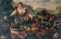 The greengrocer, 1580, by Vincenzo Campi (1536-1591), oil on canvas, 145x215 cm.  Milan, Pinacoteca Di Brera (Art Gallery, Paintings)