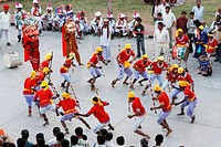 Men performing folk dance ; Jodhpur ; Rajasthan ; India