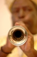 Musical instrument shehnai played by blowing air from mouth in wedding